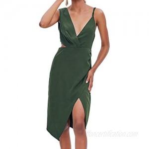 TOP-MAX Women's Dresses-Summer Spaghetti Strap Sleeveless Cocktail Party Casual Button Down Midi Dress Blue Black Stripe