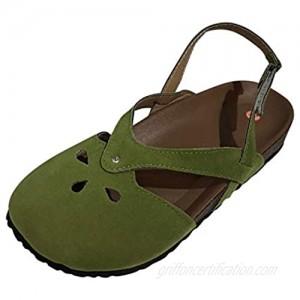 BFSAUHA Ladies Simple Elegant Toe Cap Velcro Single Shoes Sandals Flat Shoes