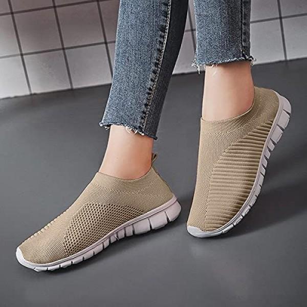 ODJOY-FAN Men Women Lightweight Sneaker Breathable Soft Sports Shoes Casual Road Walking Shoes Mesh Sports Solid Color Flat Shoes