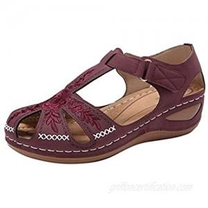 Woman Summer Roman Retro Baotou Velcro Hollow Wedge Sandals Beach Shoes