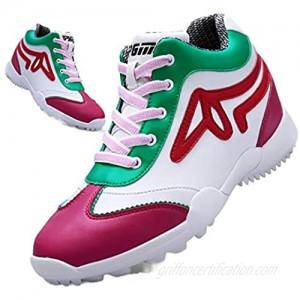 XSJK Ladies Golf Shoes Women's Golf Shoes Summer Waterproof Girl's Golf Shoes Microfiber Leather Golf Shoes Casual Shoes Club Golf Training Shoes Red 37