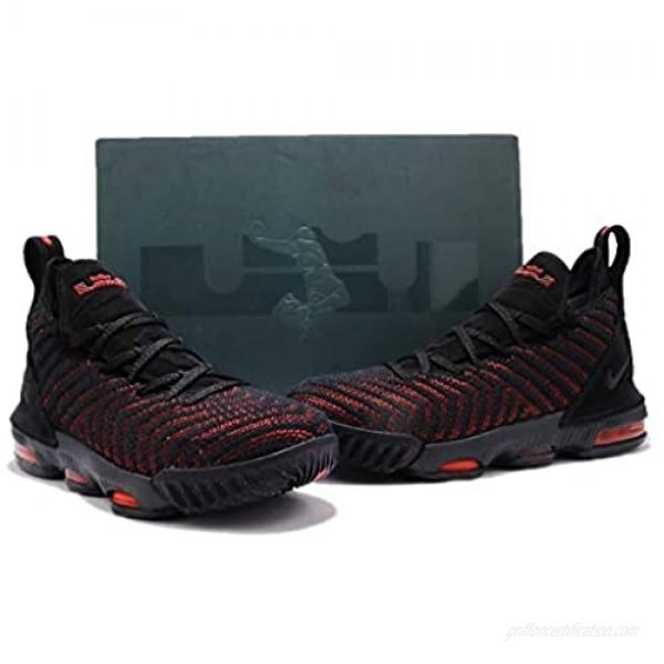 Nike Kid's Lebron XVI (GS) Basketball Shoes (Black/Black-University RED Numeric 4)