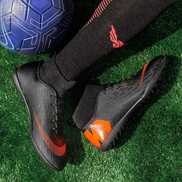 LIAOCX Men's Soccer Boots Shoes TF/AG Athletic Sneaker Football Boots Cleats High-top Sock for Outdoor/Indoor/Competition/Training