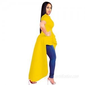 COMTOP Women's Fashion Evening Dress Irregular Flounces Skirt Hem Dress Short Sleeve Plain Dress