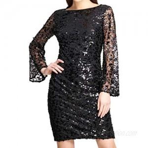 DKNY Womens Sequined Bell Sleeves Sheath Dress Black