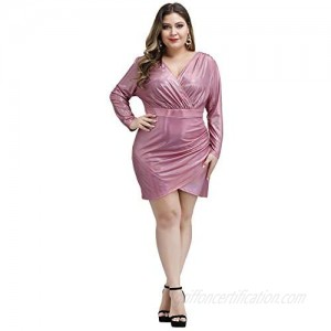 Love is Lovely Women's Plus Size V-Neck Foil Print Long Sleeves Christmas Cocktail Party Club Midi Dress