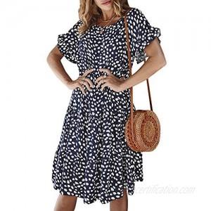 Ophestin Womens Floral Print Ruffle Short Sleeve Loose Swing Midi Dress Summer