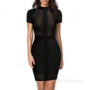 REPHYLLIS Women's Short Sleeve Zip Busniess Bodycon Pencil Dress