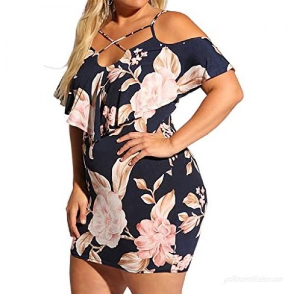 Women's Plus Size Summer Casual Dresses Sexy Strap Floral Midi Dress Cold Shoulder V Neck Cocktail Party Mini Dress