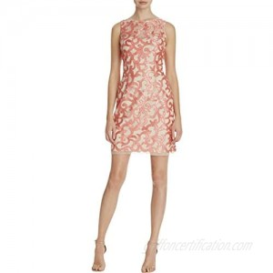 Aidan by Aidan Mattox Women's Sleevless Embroidered Cocktail Dress with Illusion Yoke Detail