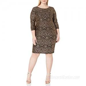 S.L. Fashions Women's Plus Size Sequin Sheath Dress