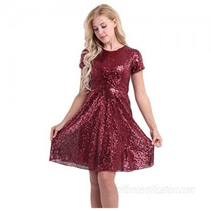 YiZYiF Women Sequined Cocktail Party Short Sleeve Bridesmaid A Line Skater Dress