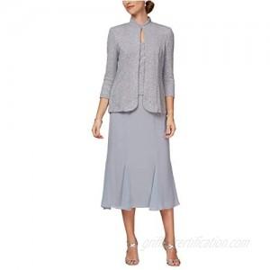 Alex Evenings Women's Tea Length Mock Jacket Dress with Mandarin Neck (Petite and Regular Sizes)