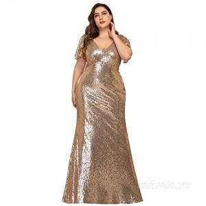 Alisa Pan Womens Mermaid Sequin Plus Size Long Formal Evening Dresses 7988