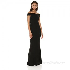 Dress the Population Women's Jackie Off The Shoulder Crepe Gown Long Dress