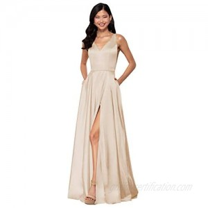 YGSY Women's V-Neck A Line Satin Long Prom Dress Slit Formal Evening Gown with Pockets