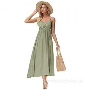 Zexxxy Women Casual Dress V Neck Kont Front Adjustable Spaghetti Straps Midi Dresses