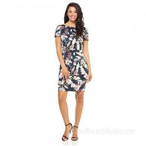London Times Women's Short Sleeve Arch Shoulder Ponte Sheath Dress