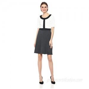 Star Vixen Women's Petite Short SLV Fit-n-Flare Dress W Blk Frame