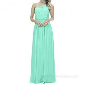 Future Girl Women's Long One Shoulder Bridesmaid Dress Asymmetric Prom Evening Gown