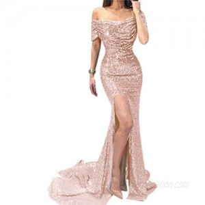LeoGirl Women's Off The Shoulder Sequins Mermaid Evening Party Dress with Slit