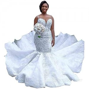Melisa Plus Size Pearl Rhinestone Illusion Backless Lace Bridal Ball Gowns Mermaid Wedding Dresses for Bride