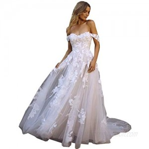 Melisa Women's Lace Appliques A Line Off The Shoulder Wedding Dresses for Bride with Train Tulle Long Bridal Ball Gowns