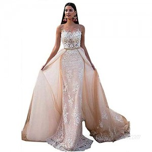 Melisa Women's Long Sleeves Lace Mermaid Wedding Dresses with Detachable Train Bridal Ball Gown for Bride Plus Size