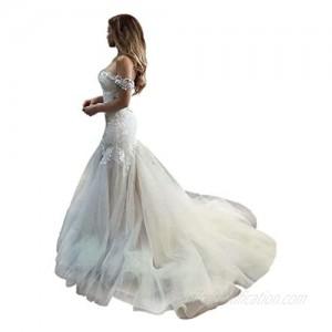QueenBridal Cathedral Train Mermaid Wedding Dress Beaded Applique Off Shoulder Bride Dresses QU89