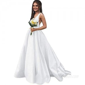 Rjer Satin Prom Dresses for Women Ball Gown Long V Neck A Line Sleeveless Formal with Pockets