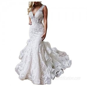 Solandia Women's Lace Applique Backless Bridal Ball Gowns Mermaid Wedding Dresses for Bride 2021