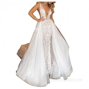 Women's Elegant Lace Mermaid Wedding Dresses for Bride with Detachable Train Bridal Ball Gown