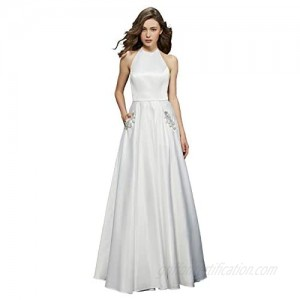 Women's Halter A-line Beaded Satin Evening Prom Dress Long Formal Ball Gown with Pockets