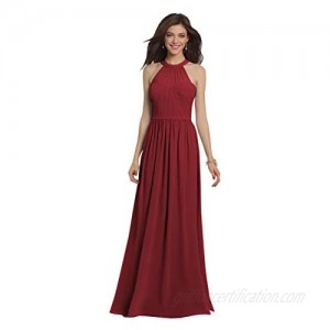 Women's Halter A Line Long Bridesmaid Dress Pleated Chiffon Evening Prom Gown
