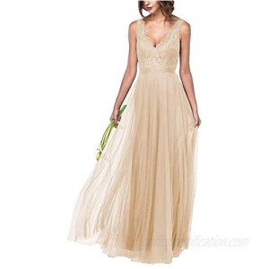 Women's Lace Bodice V Neck Sleeveless Long Bridesmaid Dress for Girls A Line Sleeveless Formal Party Gown