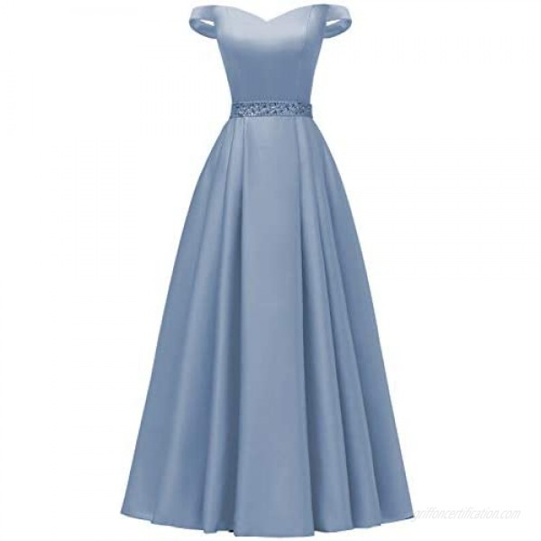 YORFORMALS Women's Off The Shoulder A-line Beaded Satin Prom Dress Long Evening Ball Gown with Pockets