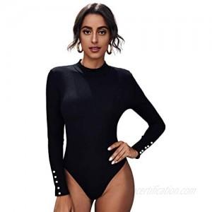 Floerns Women's Basic Mock Neck Long Sleeve Stretchy Bodysuit Jumpsuit