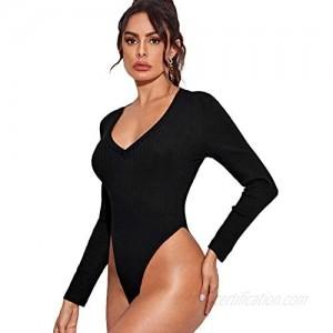Floerns Women's Long Sleeve V Neck Rib Knit Skinny Solid Basics Bodysuit