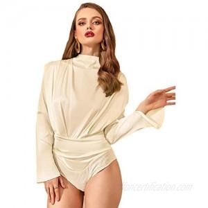 Floerns Women's Solid Mock Neck Long Sleeve Ruched Bodysuit
