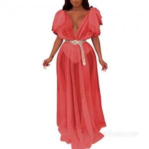 Ophestin Women Sleeveless Strap Tunic Bodysuits with Mesh Sheer Flowy Ruffle Long Maxi Dress