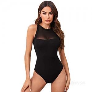 Verdusa Women's Contrast Mesh Sleeveless Bodycon Leotard Bodysuit Top