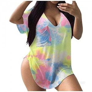 Womens Summer T-shirts Tie-dye Printing V-neck Shirts Casual Short Sleeve Loose Tee Tunic Soft Plus Size Blouse Tops