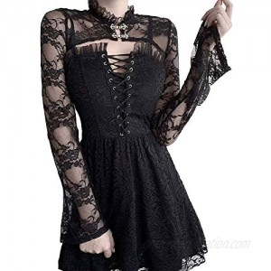 Y2K Sexy Black Lace Top E Girl Band Collar Primer Shirt Lace Smock Crop Tops