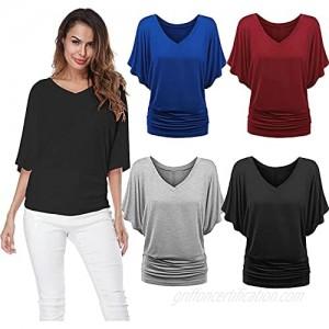 ZGNB Fashion Women Plus Size Solid V-Neck Short Sleeve Ruched Top Blouse T-Shirt